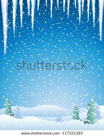 an illustration of a cold winter landscape with snow capped fir trees icicles and a night sky - stock photo