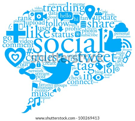 An illustration of a collage of social network buzz words and icons forming the shape of a talk bubble - stock photo
