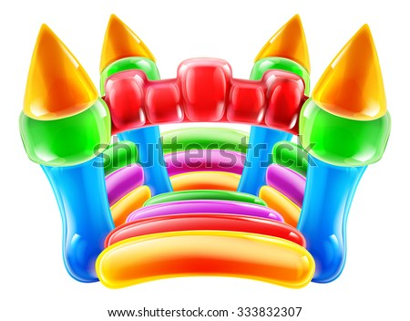 An illustration of a colourful inflatable children s party castle - stock photo