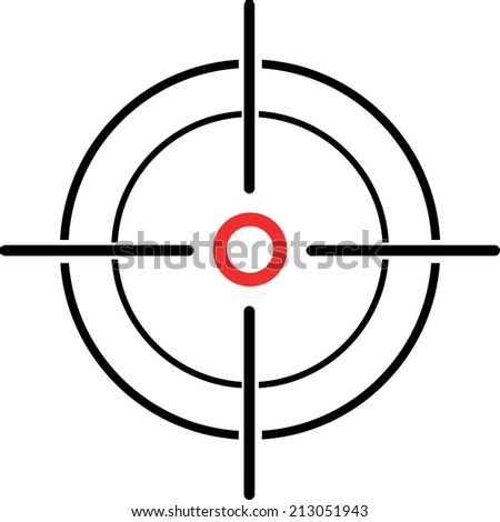 An Illustration of a crosshair reticle on a white background - stock photo