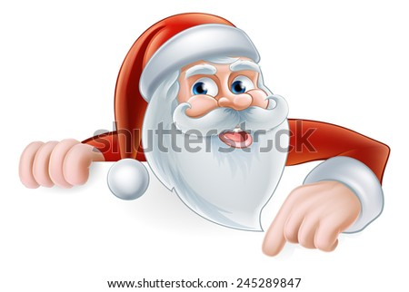 An illustration of a cute Cartoon Santa Pointing at a sign - stock photo