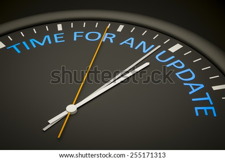 An illustration of a dark clock with the words time for an update - stock photo