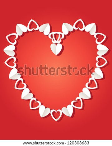 an illustration of a decorative paper chain made up of hearts in a valentine shape on a red background - stock photo