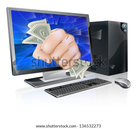 An illustration of a desktop computer with a fist full of dollars breaking out of the screen - stock photo