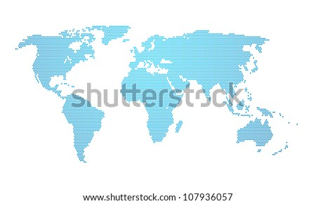 An illustration of a dotted earth map - stock photo
