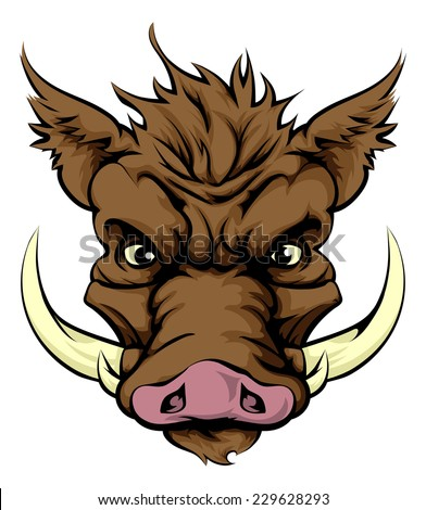 An illustration of a fierce boar animal character or sports mascot - stock photo