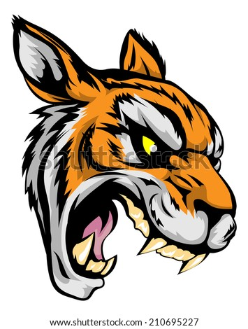 An illustration of a fierce tiger animal character or sports mascot - stock photo