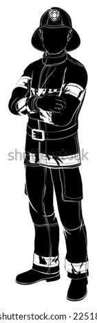 An illustration of a fireman or fire fighter standing with arms folded in silhouette - stock photo