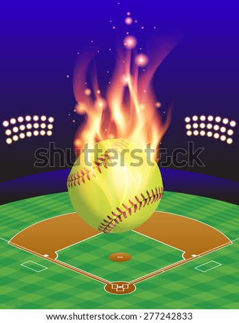 An illustration of a flaming softball above an aerial view of a softball field. - stock photo