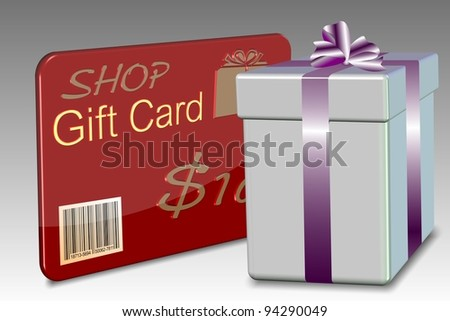 An illustration of a gift card with a nicely wrapped present box / Gift card - stock photo