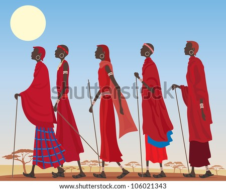 an illustration of a group of colorful masai men dressed in traditional red robes and jewelry walking through a dusty african landscape under a hot yellow sun - stock photo
