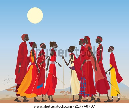 an illustration of a group of masai men and women in traditional clothing in an arid african landscape - stock photo