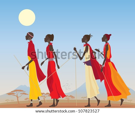 an illustration of a group of masai women dressed in traditional clothing walking through a kenyan landscape under a hot blue sky - stock photo