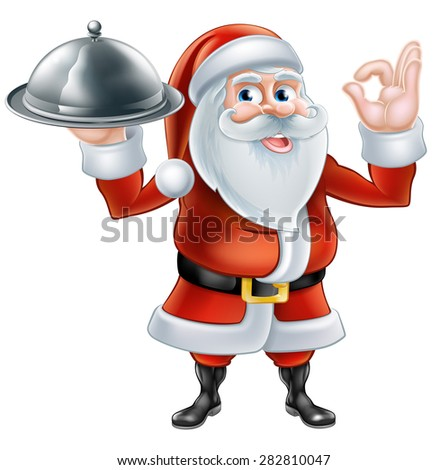 An illustration of a happy cartoon Santa Claus holding a plate of food and giving a perfect hand gesture - stock photo