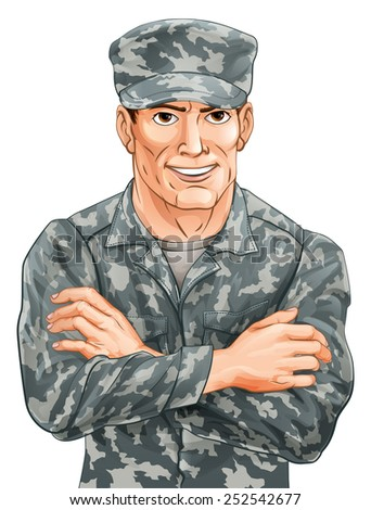An illustration of a happy smiling soldier in camouflage uniform with his arms folded - stock photo