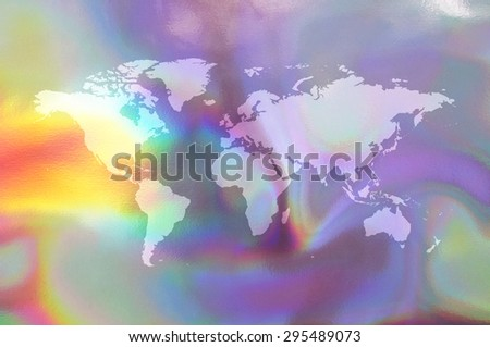 An illustration of a holographic earth map. - stock photo