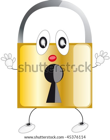 an illustration of a locked brass - stock photo