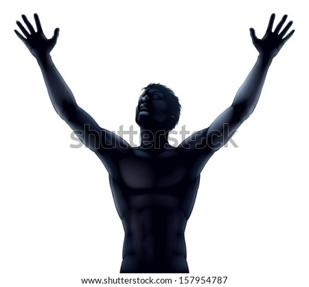 An illustration of a man in silhouette hands and arms raised stretching up to the sky in praise or joy - stock photo