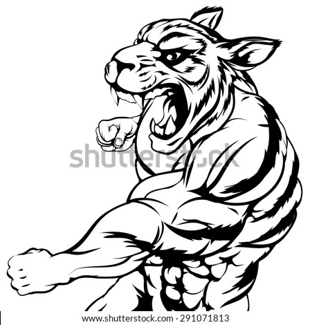 An illustration of a mean looking tiger animal sports mascot punching - stock photo