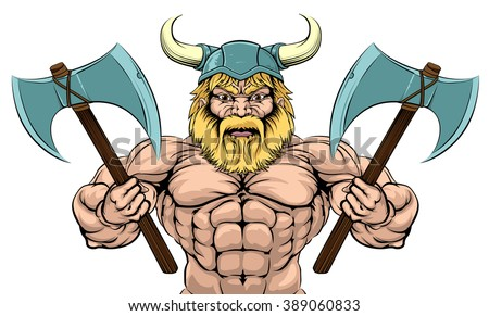 An illustration of a mean looking Viking Warrior with two axes - stock photo