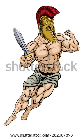 An illustration of a muscular strong Roman Gladiator Warrior - stock photo