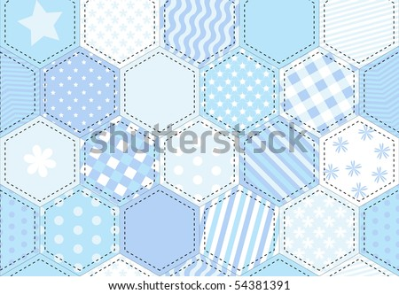 An illustration of a patchwork quilt background in shades of blue. - stock photo