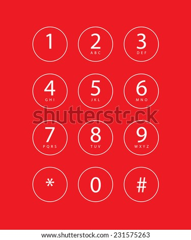 An Illustration of a phone keypad for a touchscreen device - stock photo