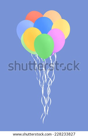 An illustration of a set of colourful birthday or party balloons  - stock photo