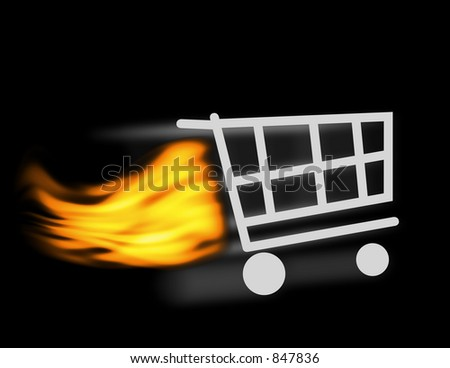 An illustration of a shopping cart - stock photo