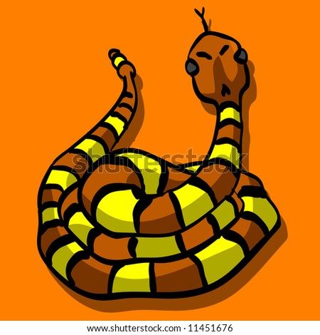 An illustration of a snake sticking out his tongue, looking threatening and cute at the same time. - stock photo