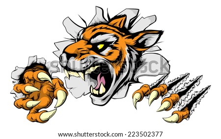 An illustration of a snarling tiger head bursting through a wall - stock photo