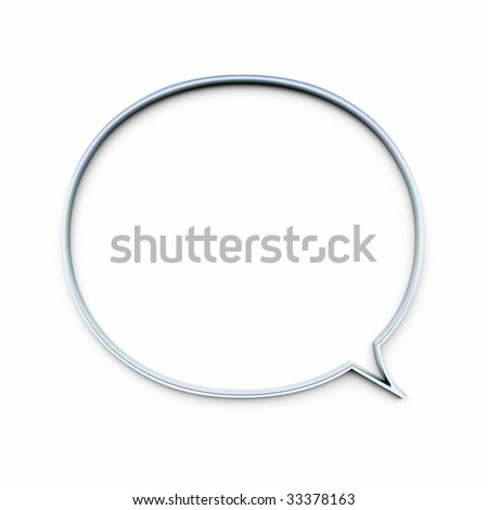 An illustration of a speech bubble in chrome - stock photo