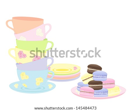 an illustration of a stack of fancy cups and saucers with a plate of delicious colorful macaroons isolated on a white background - stock photo