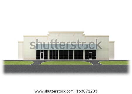 An illustration of a store front with large windows.  - stock photo