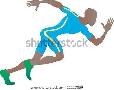 An illustration of a stylised sprinter running in profile - stock photo