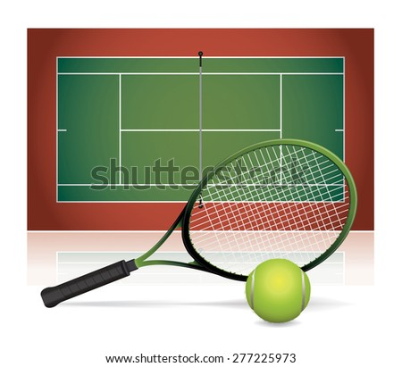 An illustration of a tennis court with a tennis racket and tennis ball. - stock photo