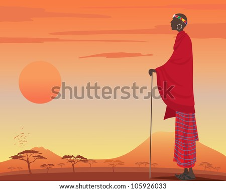 an illustration of a traditionally dressed masai man with red robes and colorful head dress watching over a beautiful kenyan sunset - stock photo