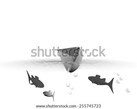 An illustration of an abstract sinking sailboat, fish swimming around it - stock photo