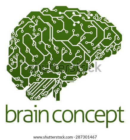 An illustration of an electrical circuit board brain in profile, artificial intelligence science concept - stock photo