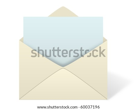 An illustration of an envelope open with an emerging piece of paper or letter coming out from inside the envelope. Add your own text or message to the paper. - stock photo