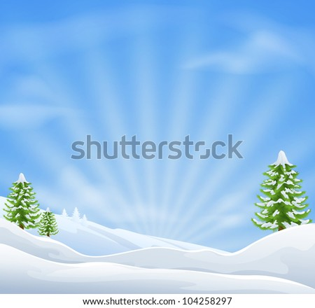 An illustration of an idyllic snow covered Christmas landscape with large sky area for copy when used as a holiday background - stock photo
