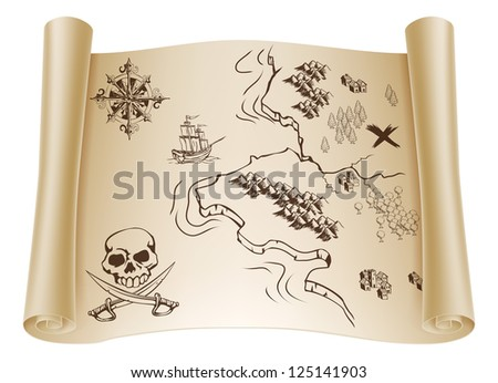 An illustration of an old treasure map on a rolled up paper scroll with x marking the spot - stock photo