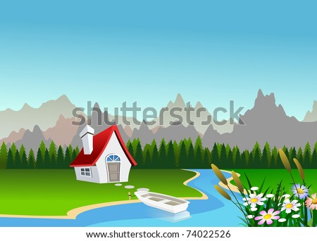 An illustration of beautiful spring scene landscape - stock photo