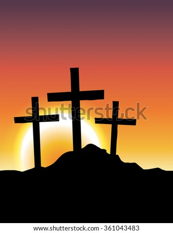 An illustration of Christian Calvary crosses silhouetted ad a sunrise or sunset. - stock photo