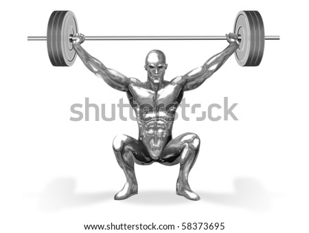 An illustration of chrome man figure are weight lifting - stock photo
