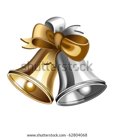 An illustration of gold and silver jingle bells - stock photo