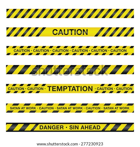 An illustration of police tape with a spiritual theme. - stock photo