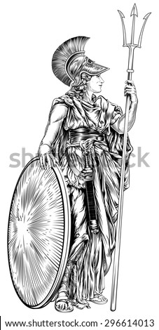 An illustration of the mythological Greek Goddess Athena holding a trident spear and shield - stock photo