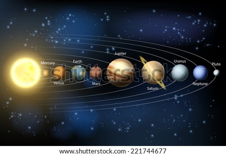 An illustration of the planets of our solar system. - stock photo