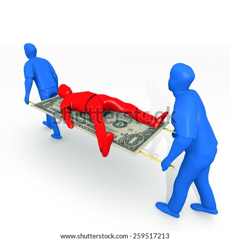 An illustration related to bankruptcy and debt settlements. - stock photo